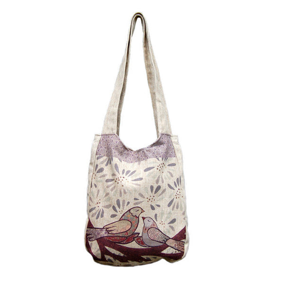 Love Doves Linen Shoulder Bags