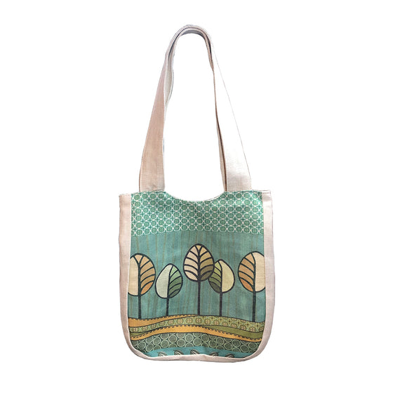 Trees Linen Shoulder Bags