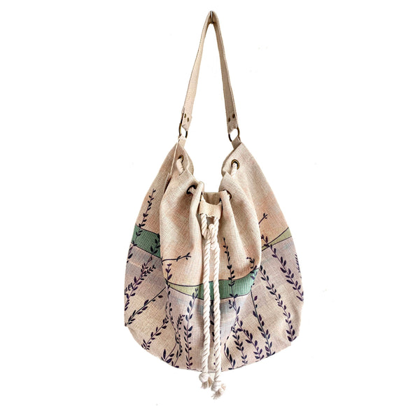 Linen Bucket Bags (Green Tall Grasses)
