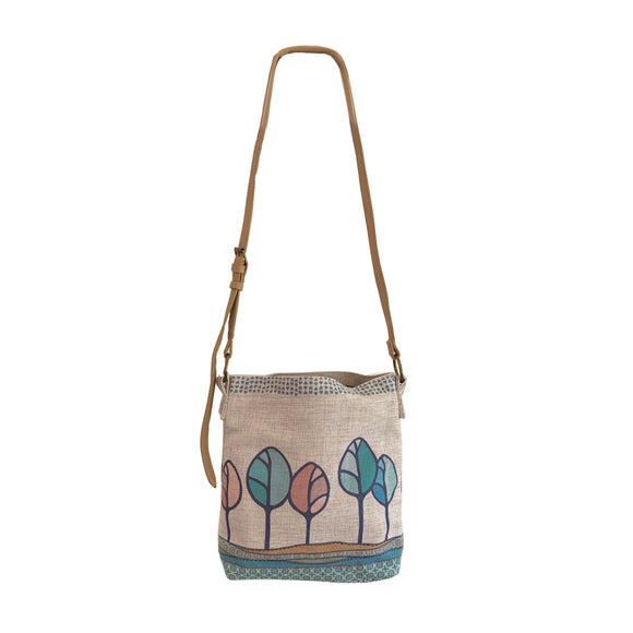 Hill Top Trees Cross Body Linen Bag