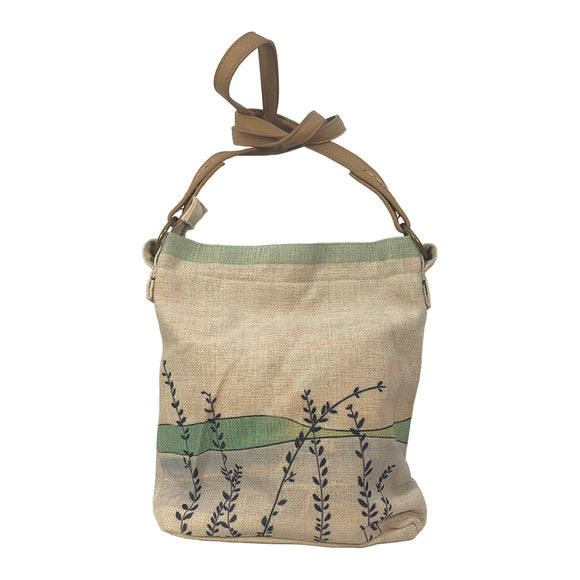 Green Grasses Cross Body Linen Bags