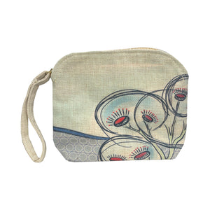 Flowering Gum linen clutch bag