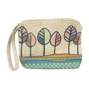 Hill Top Trees Linen Clutch  Bag