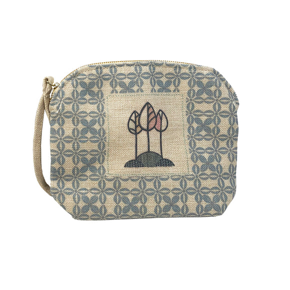 Blue Trees Linen Clutch Bag
