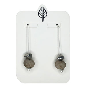Long Straight Hook with Stone Ball and Nugget Charm Earring