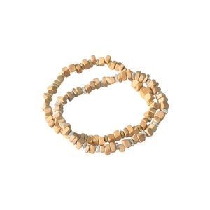 small wood slices and spacer bead bracelets set2 gold & silver