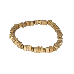 Small wood slices and spacer bead bracelets set of 2 (gold & silver)