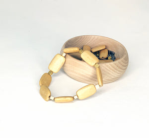 Long Rectangular Wood with Square Bead Bracelet
