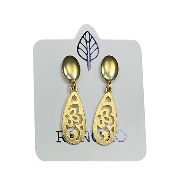 Solid Oval Stud with Ornate Teardrop Feature Earring