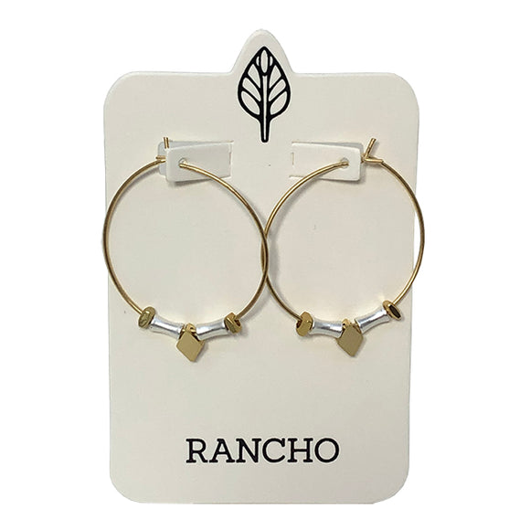 Large Silver or Gold Hoop earrings with diamond shaped charm