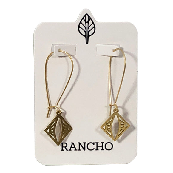 Long Hook and Square Geo Pendant Earring