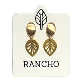 Solid Oval Stud wth Large Leaf Charm Earring