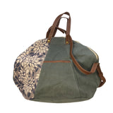 grey flower print overnight bag