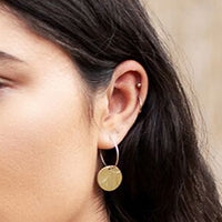 Small Hoop with Round Hammered Disc Earring