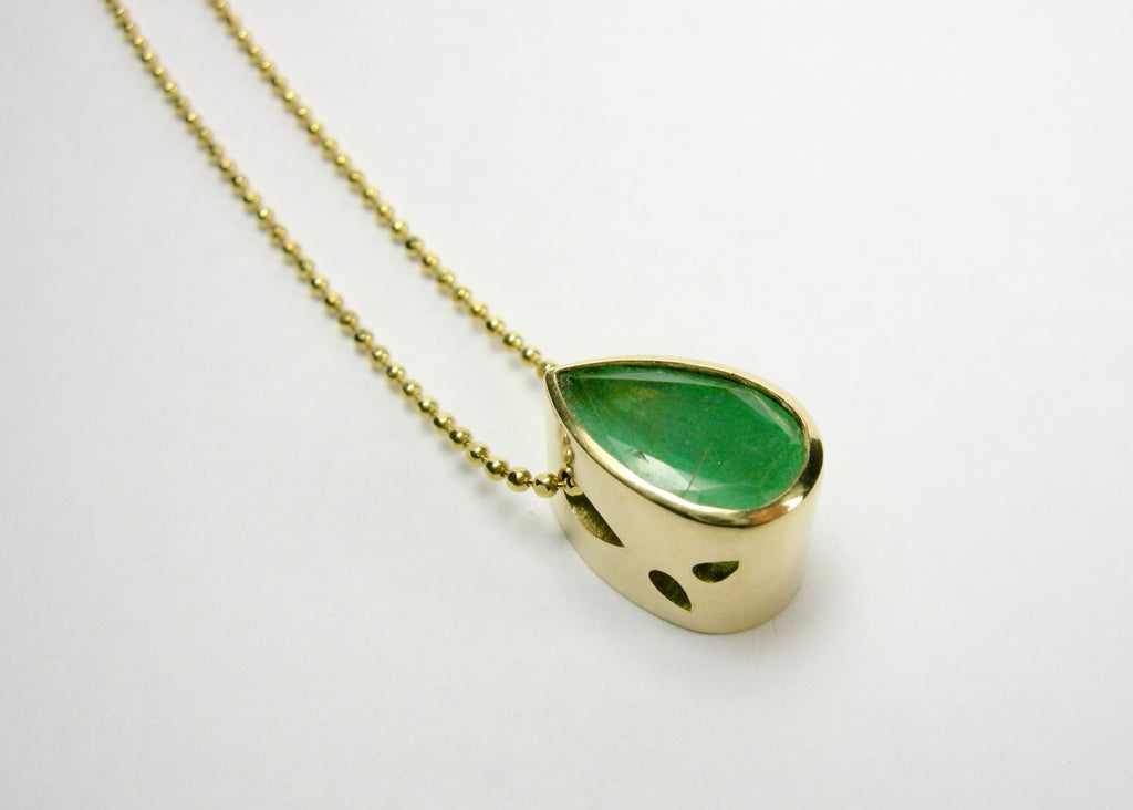 Emerald Leaf Slide Pendant