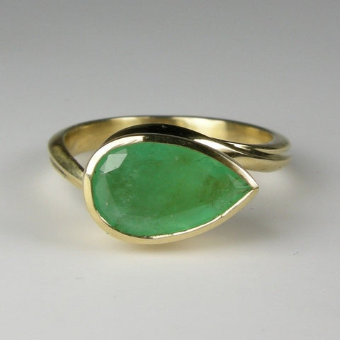 Emerald Leaf Wrap Ring