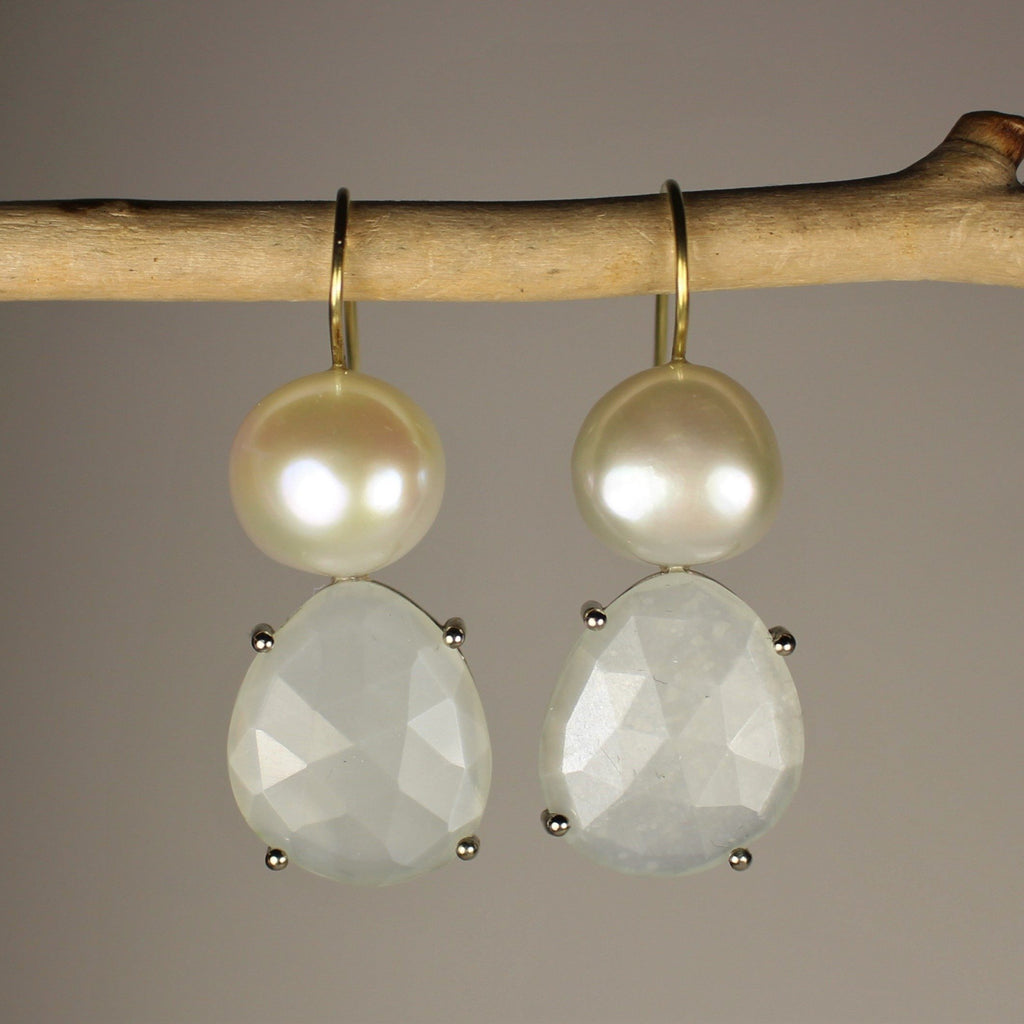 Wabi Sabi Pearl and Gemstone Earrings