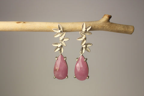 Lotus and Pink Sapphire Earrings