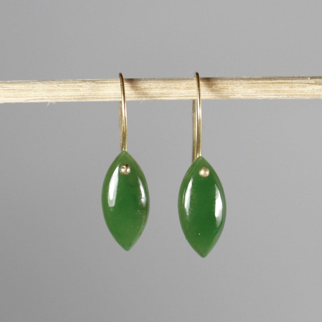 Jade Leaf Drop Earrings