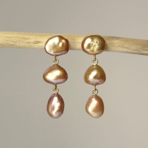 Pink Baroque Pearl Three Drop Earrings