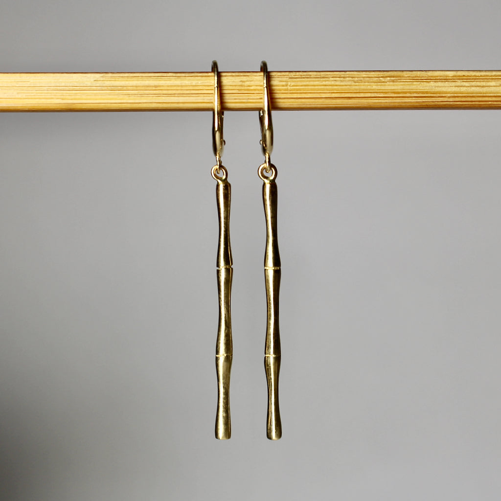 Bamboo Gold Stem Earrings