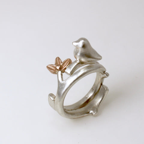 Natura Ring with Bird and Blossom