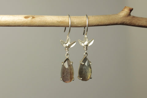 Lotus Labradorite Dangle Earrings