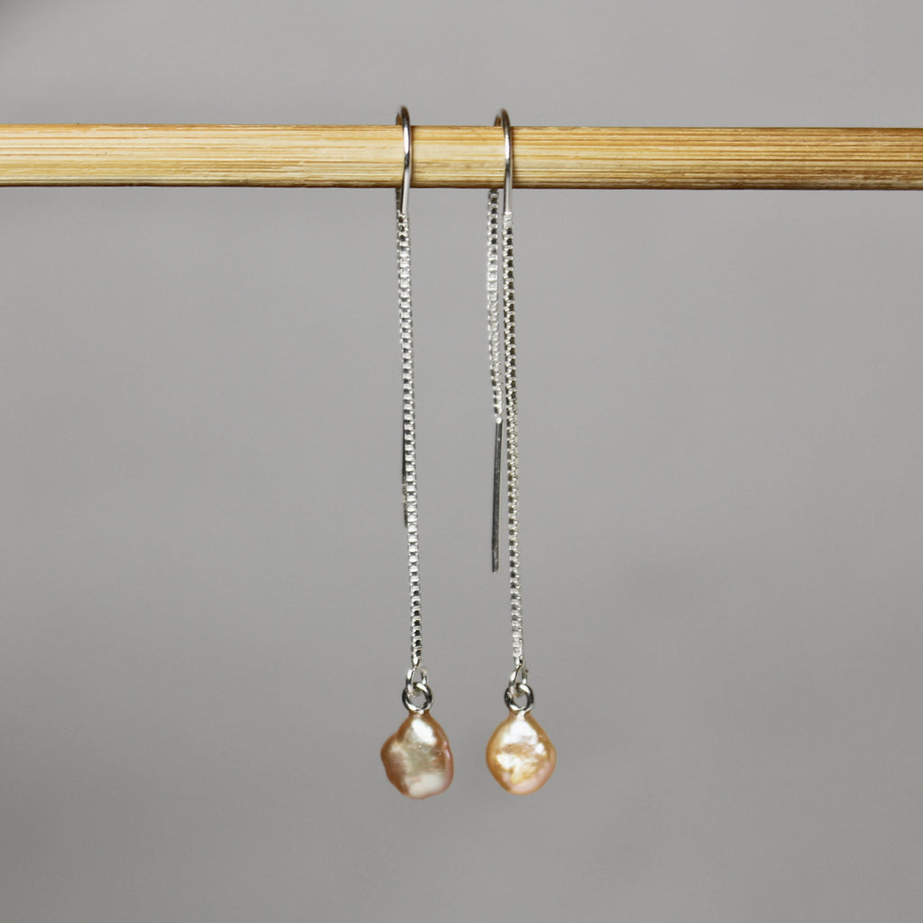 Petites Peachy Pink Dangle Earrings
