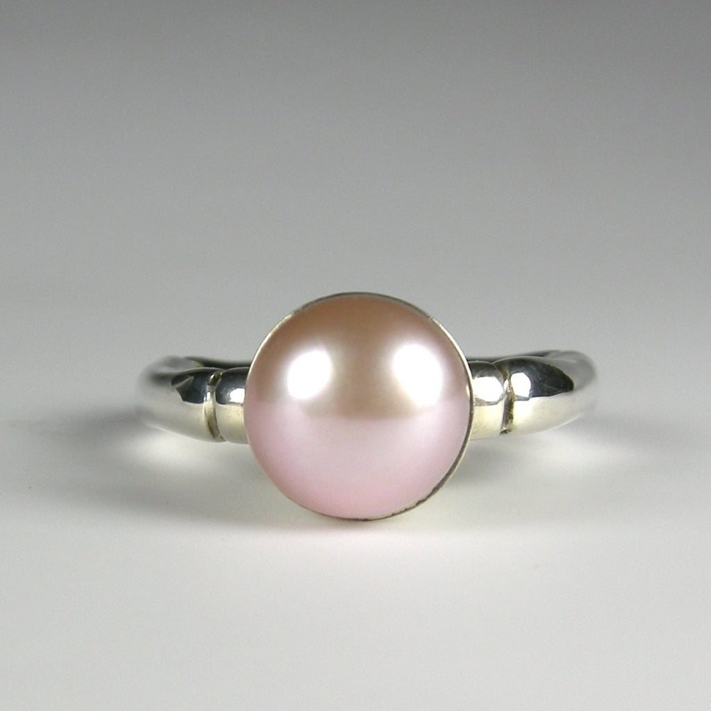 Bamboo Pearl Ring in Sterling Silver