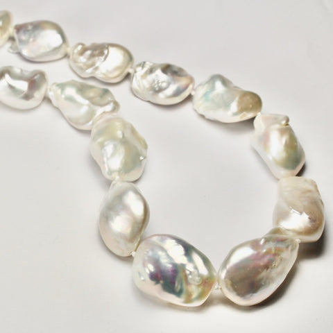 Wabi Sabi Large White Baroque Pearl Necklace