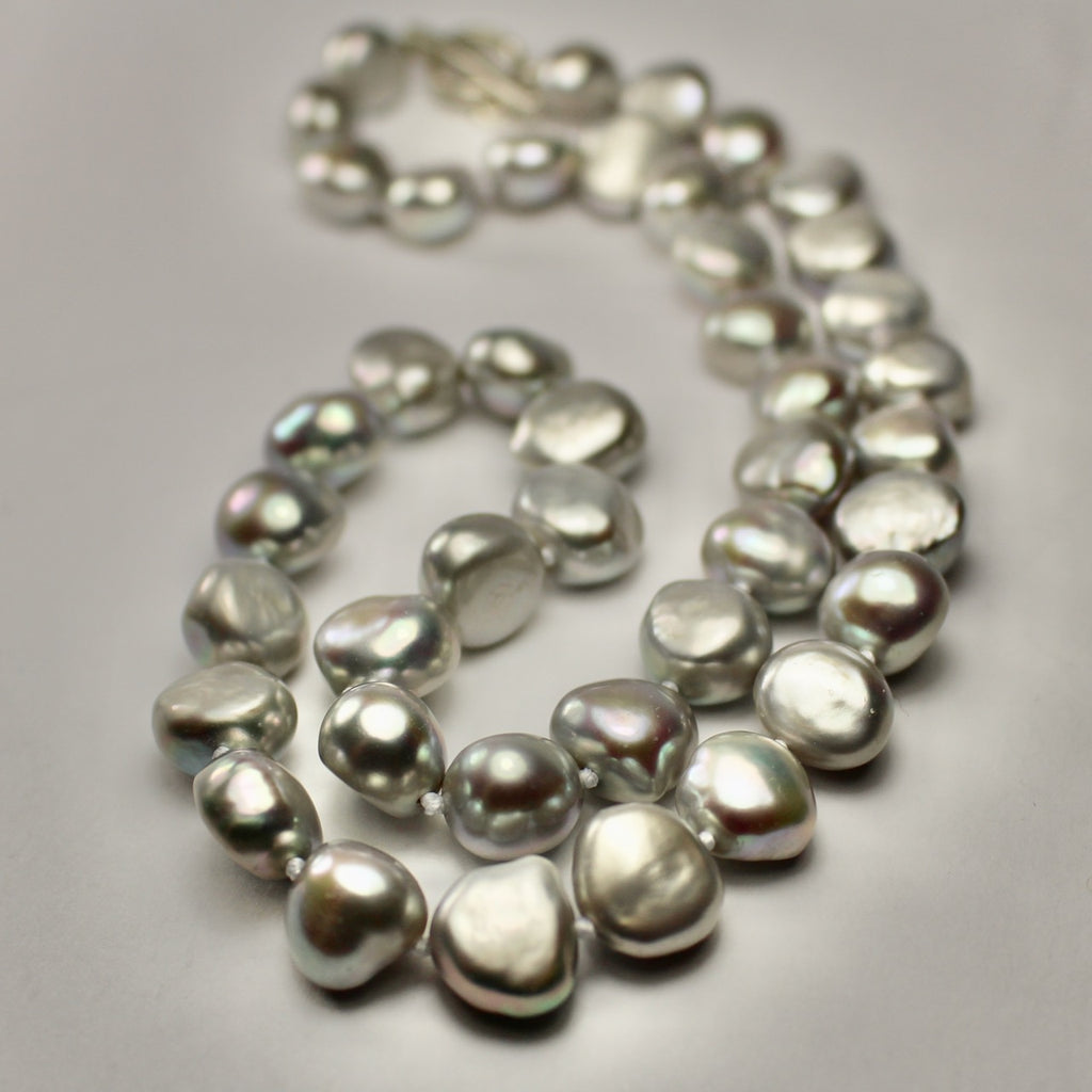 Wabi Sabi Medium Grey Baroque Pearl Necklace