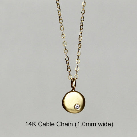 14K Gold Petite Pendant - Pebble + Diamond