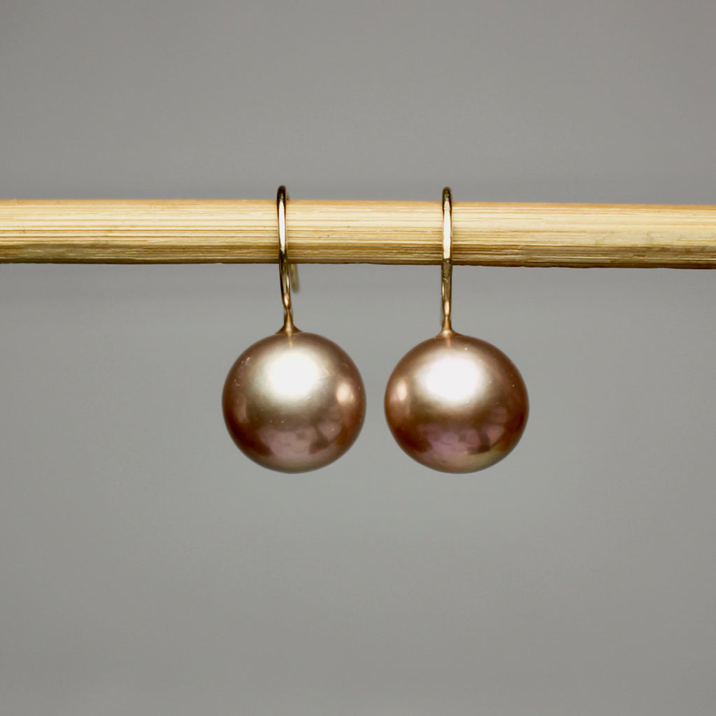 Champagne Rose Sphere Pearl Dangles