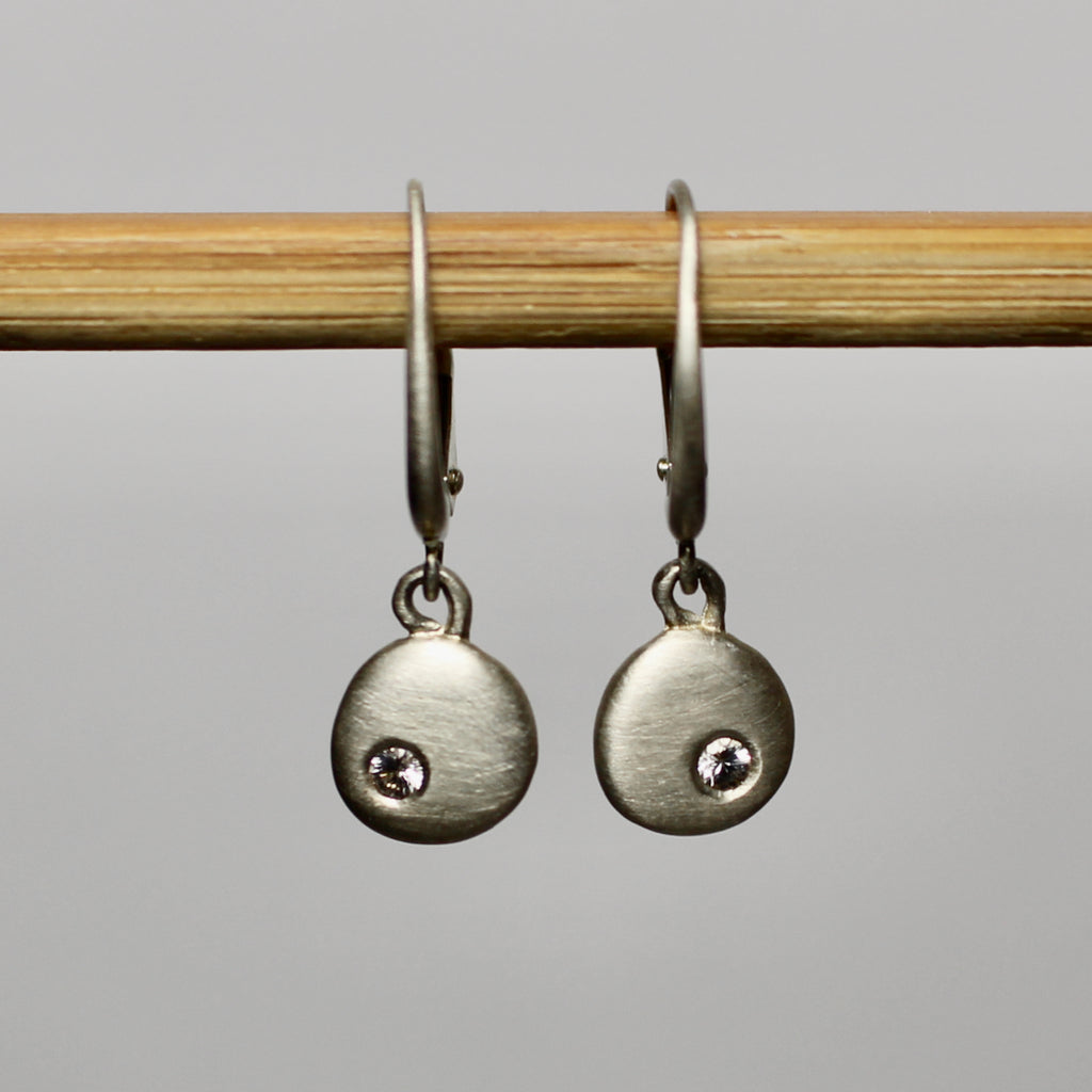 Sterling Silver Pebble & Sapphire Earrings