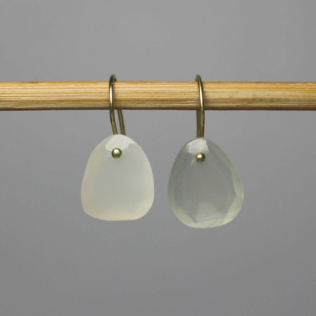 Wabi Triangle Moonstone Earrings 14K Green Gold