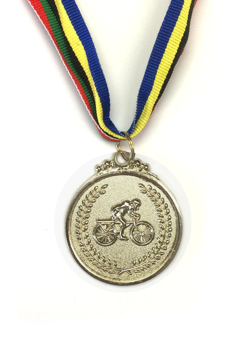 M6 Silver Bicycle Medal 5cm Diameter