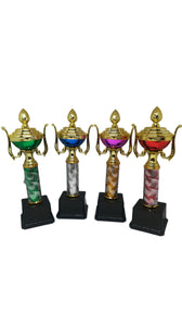 S09P - Plastic Cup Trophies With Pole & Base in Various Colours