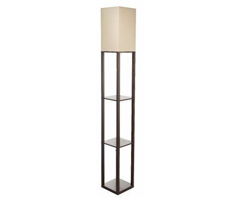 Shelf Floor Lamp - Shade Diffused Light Source with Open-Box Shelves White