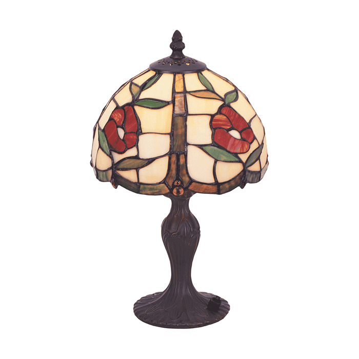 Red Rose Tiffany Table Lamp