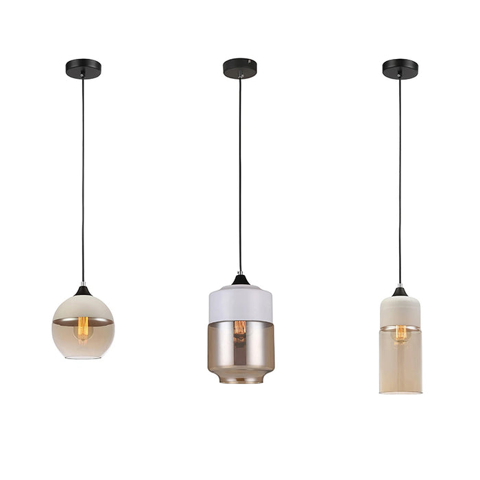 CASA White with Amber Glass Pendant Lights