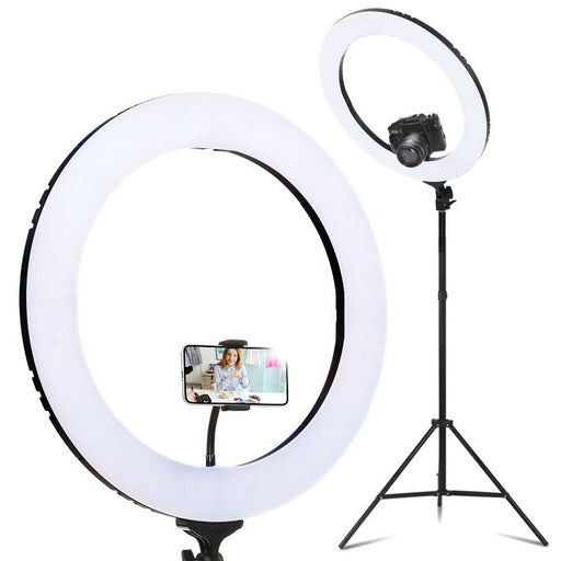 19 LED Ring Light 6500K 5800LM Dimmable Diva With Stand Make Up Studio Video""
