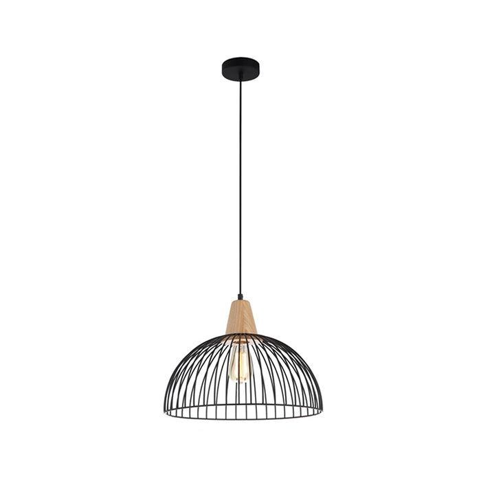 STRAND Iron and Wood Dome Cage Pendant lights
