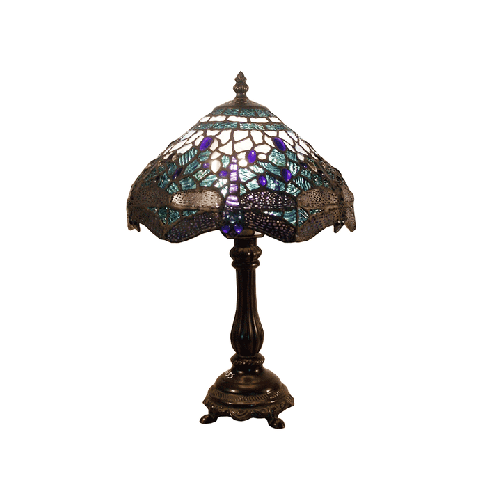 Rose and Dragonfly Tiffany Table Lamp Blue