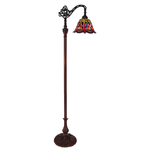 Rose and Dragonfly Edwardian Tiffany Floor Lamp