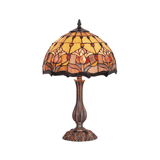 Red Tulip Tiffany Table Lamp