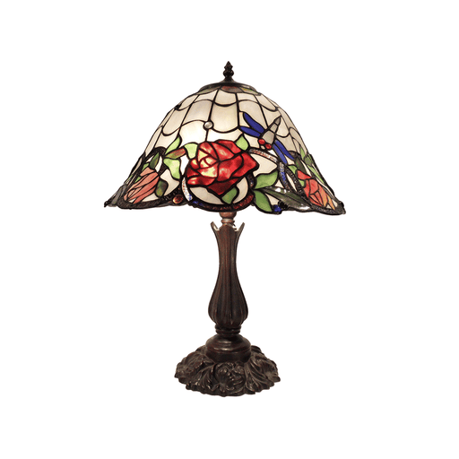 Rose and Dragonfly Tiffany Table Lamp Large
