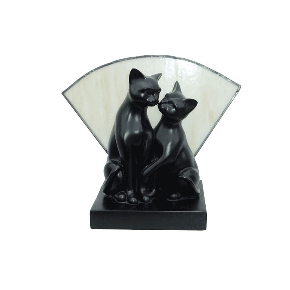 Kissing Cats Art Deco Table Lamp