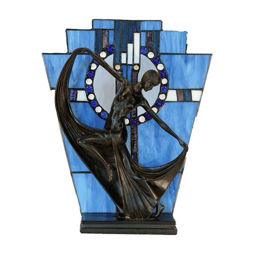 Leadlight Art Deco Table Lamp Blue