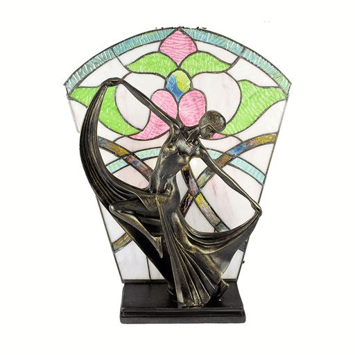 Leadlight Art Deco Table Lamp Floral