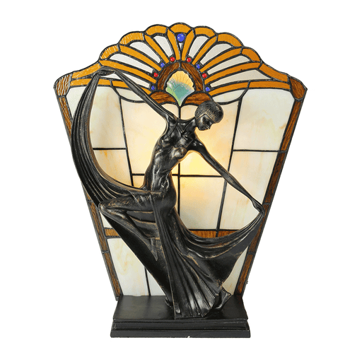 Leadlight Art Deco Table Lamp Orange